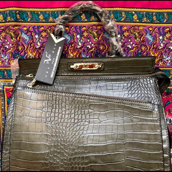 Versace 1969 Faux Crocodile Satchel 4d3c9e23533c3